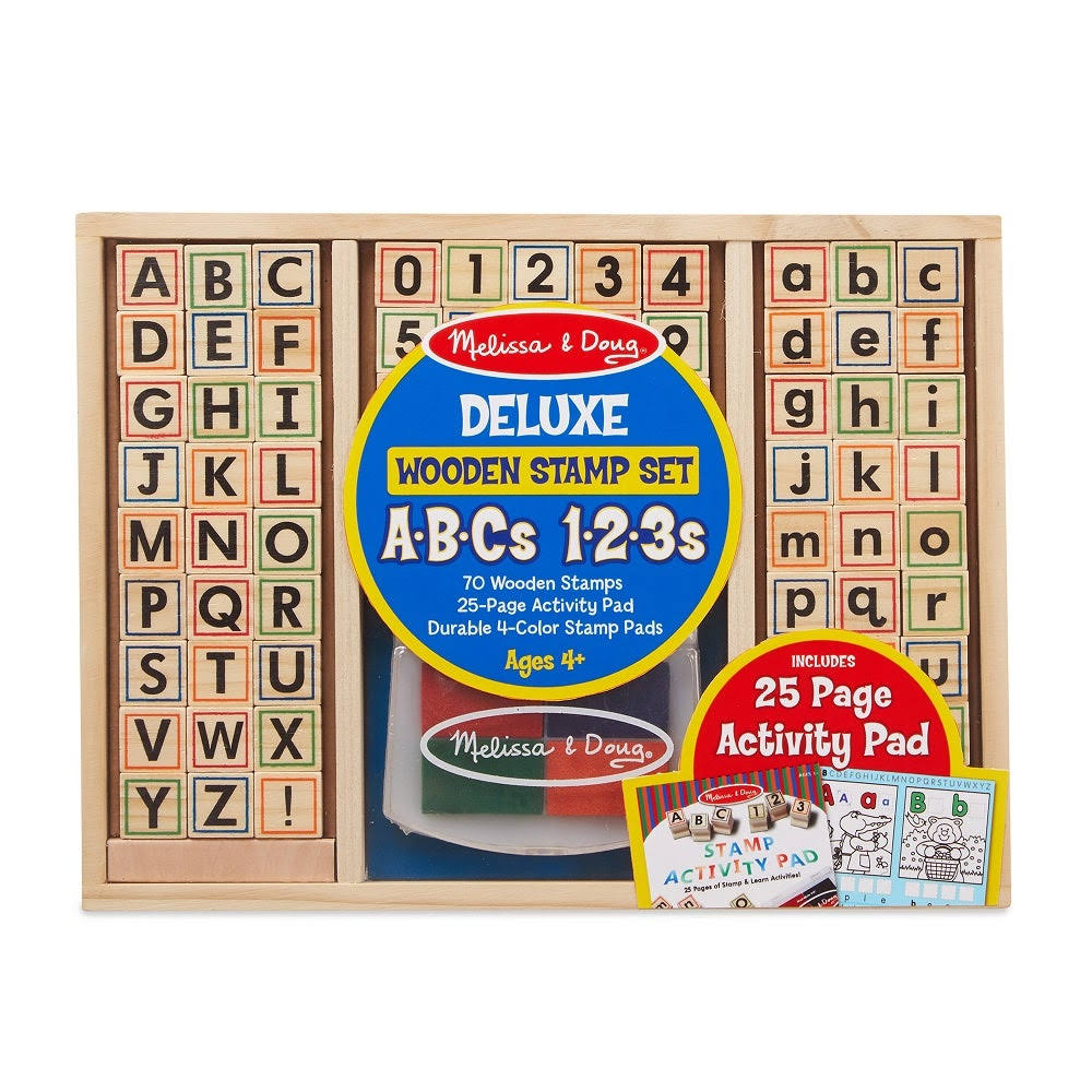 Melissa & Doug - Deluxe Wooden Stamp Set - ABCs 123s