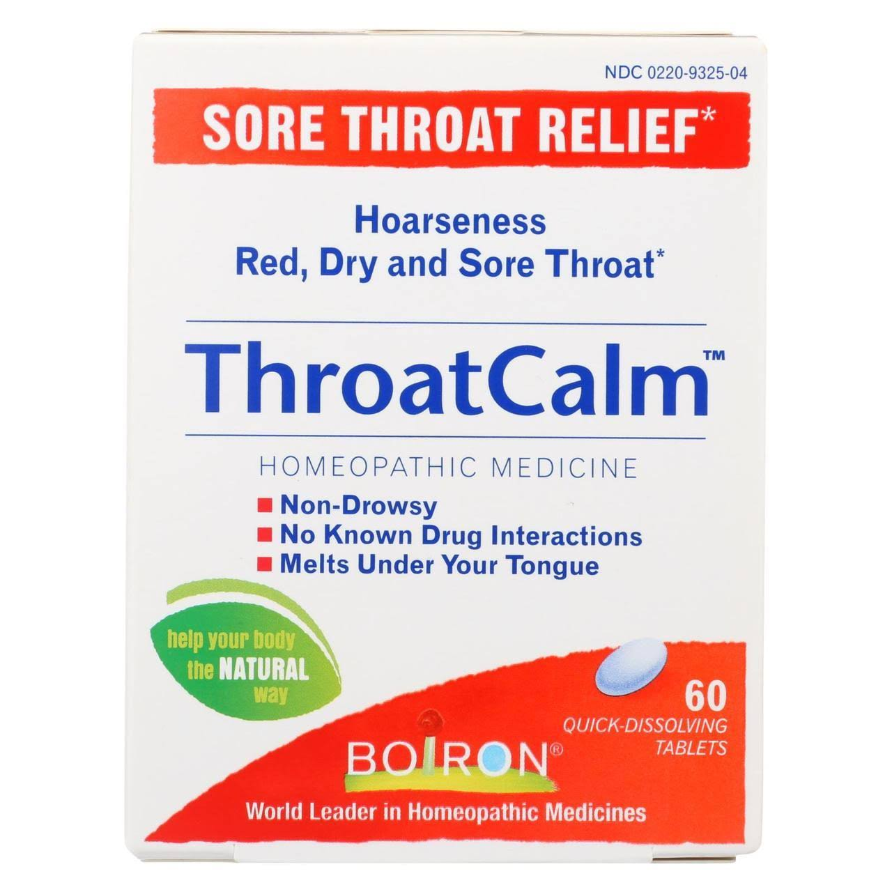 Boiron Throat Calm Sore Throat Relief Tablet - 60ct
