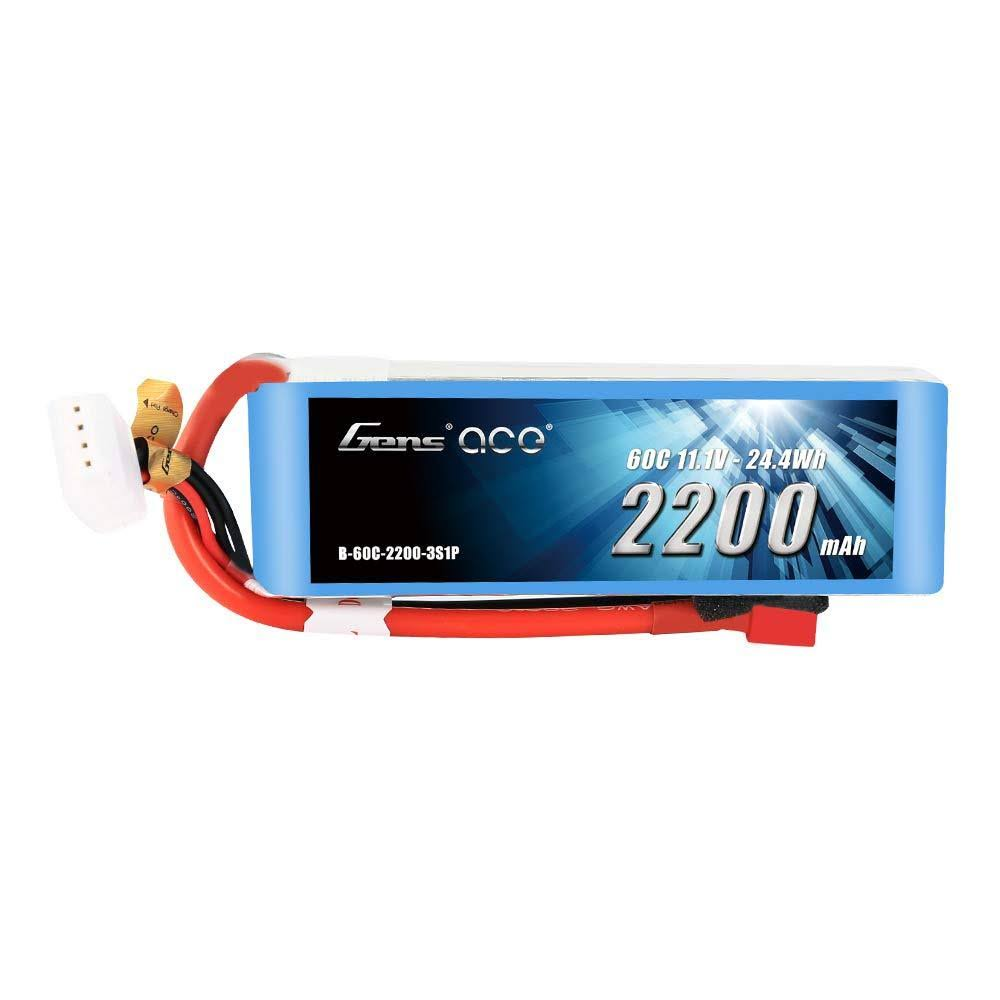 Gens Ace 11.1V 2200mAh 3S 60C Lipo Battery Pack with Deans Plug
