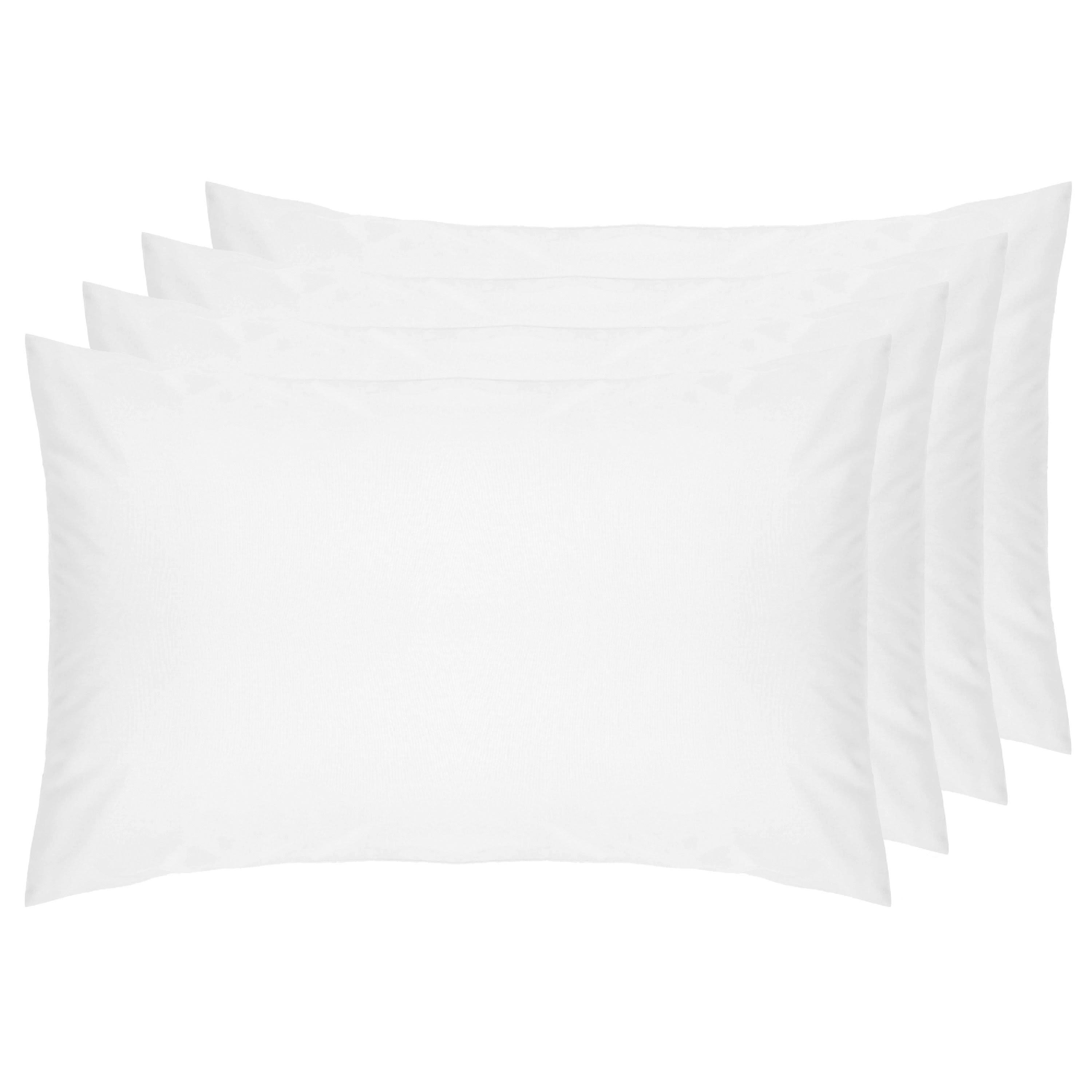 Belledorm 100% Cotton Percale 4 Pack Housewife Pillowcases White
