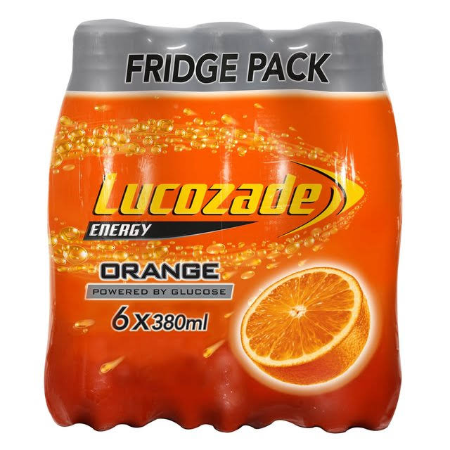 Lucozade Energy Drink - Orange, 6 x 380ml
