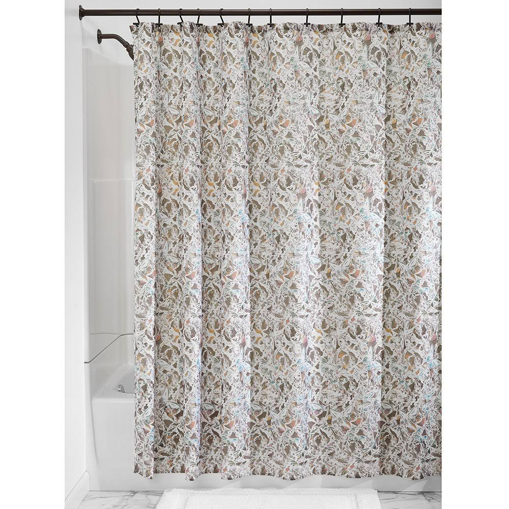 "InterDesign Butterfly Fabric Shower Curtain - 72"" x 72"", Taupe"