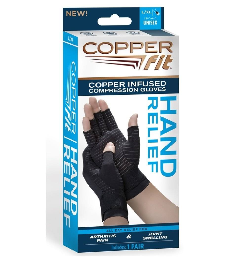 Copper Fit Compression Gloves, Copper Infused, L/XL, Unisex