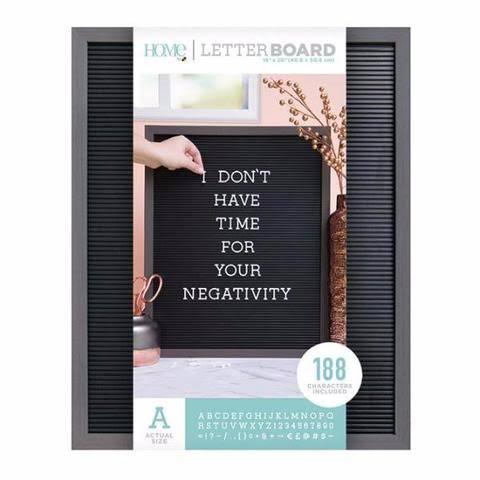 DCWV Framed Letterboard 16 inchx20 inch-Gray Stained w/Black Insert