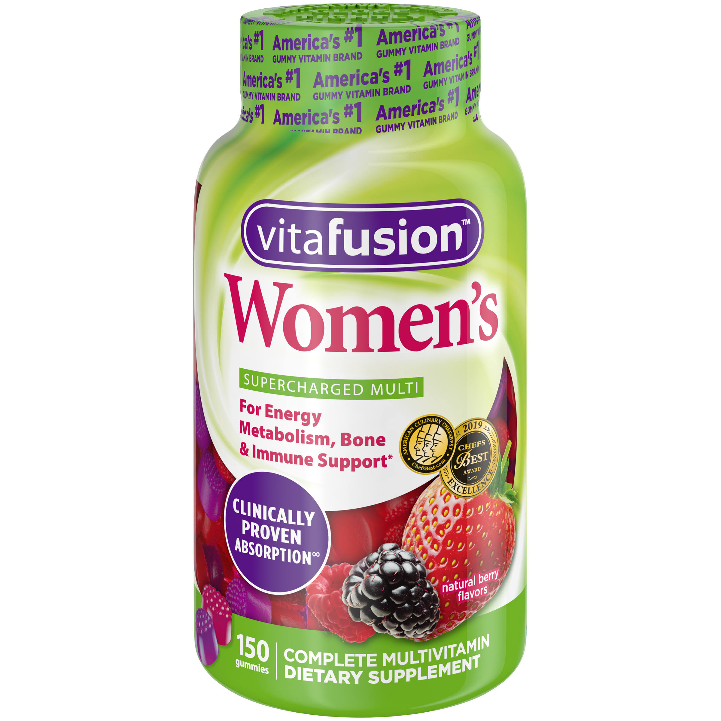 Vitafusion Women's Gummy Vitamins - Natural Berry Flavors, 150ct