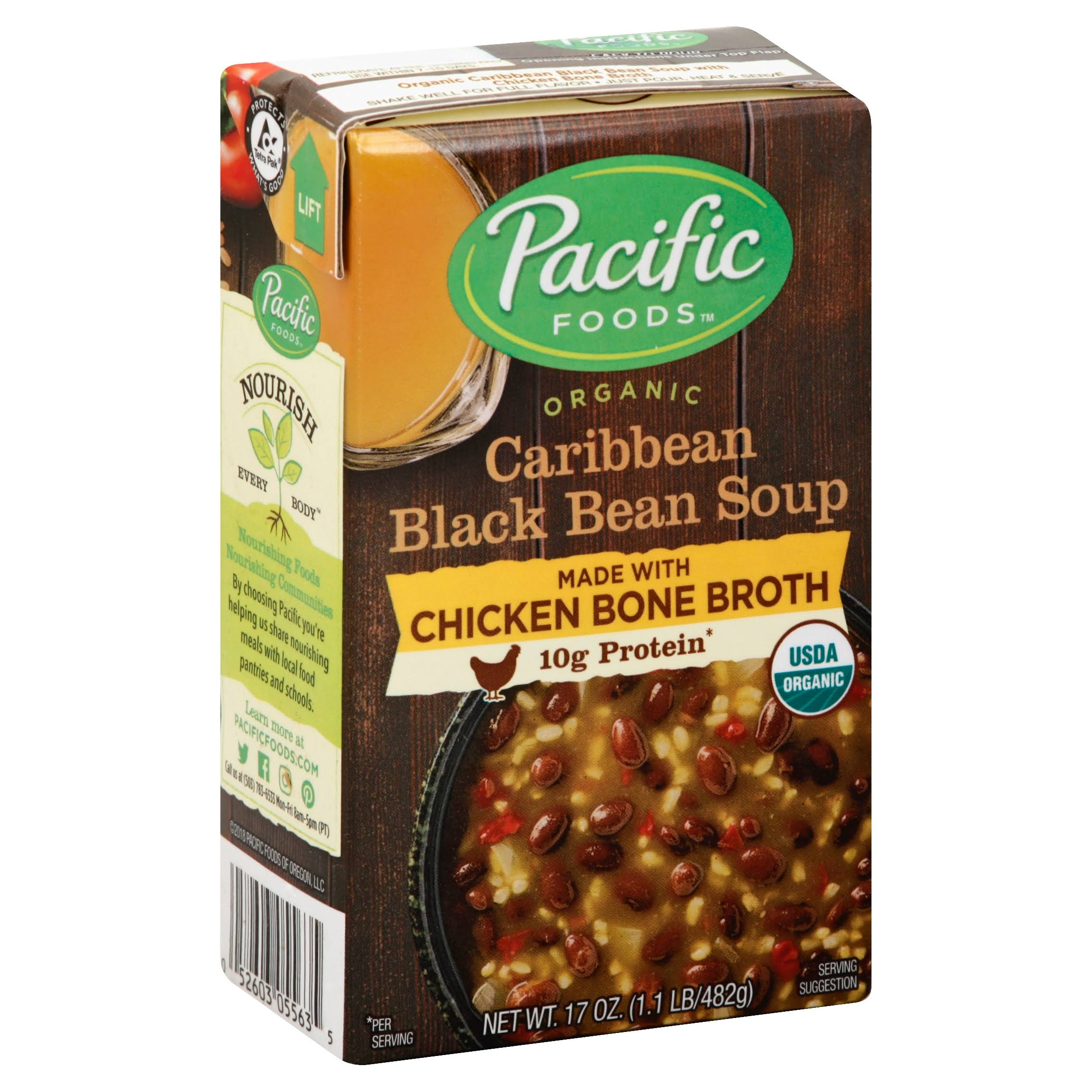 Pacific Foods Organic Chicken Bone Broth Caribbean Black Bean Soup - 17oz