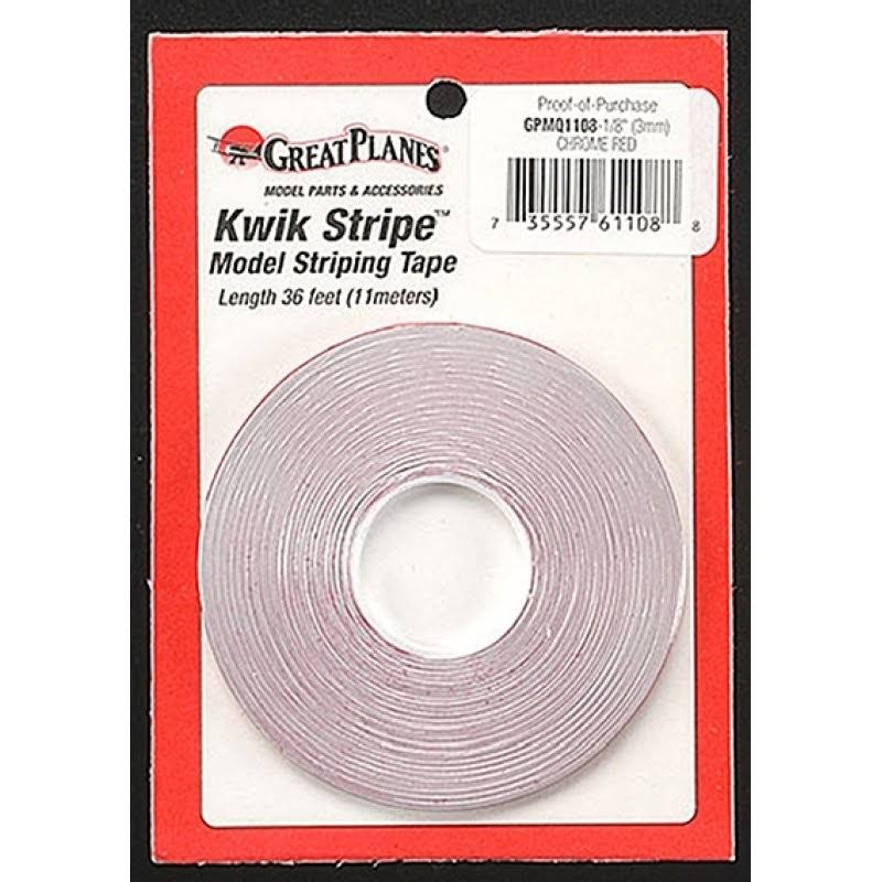 Great Planes GPMQ1108 Striping Tape Chrome Red 1/8""