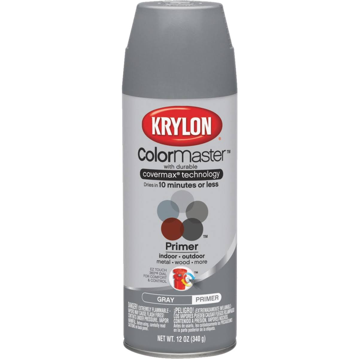 Krylon K05582007 COLORmaxx Spray Paint Gray Primer 12 Ounce
