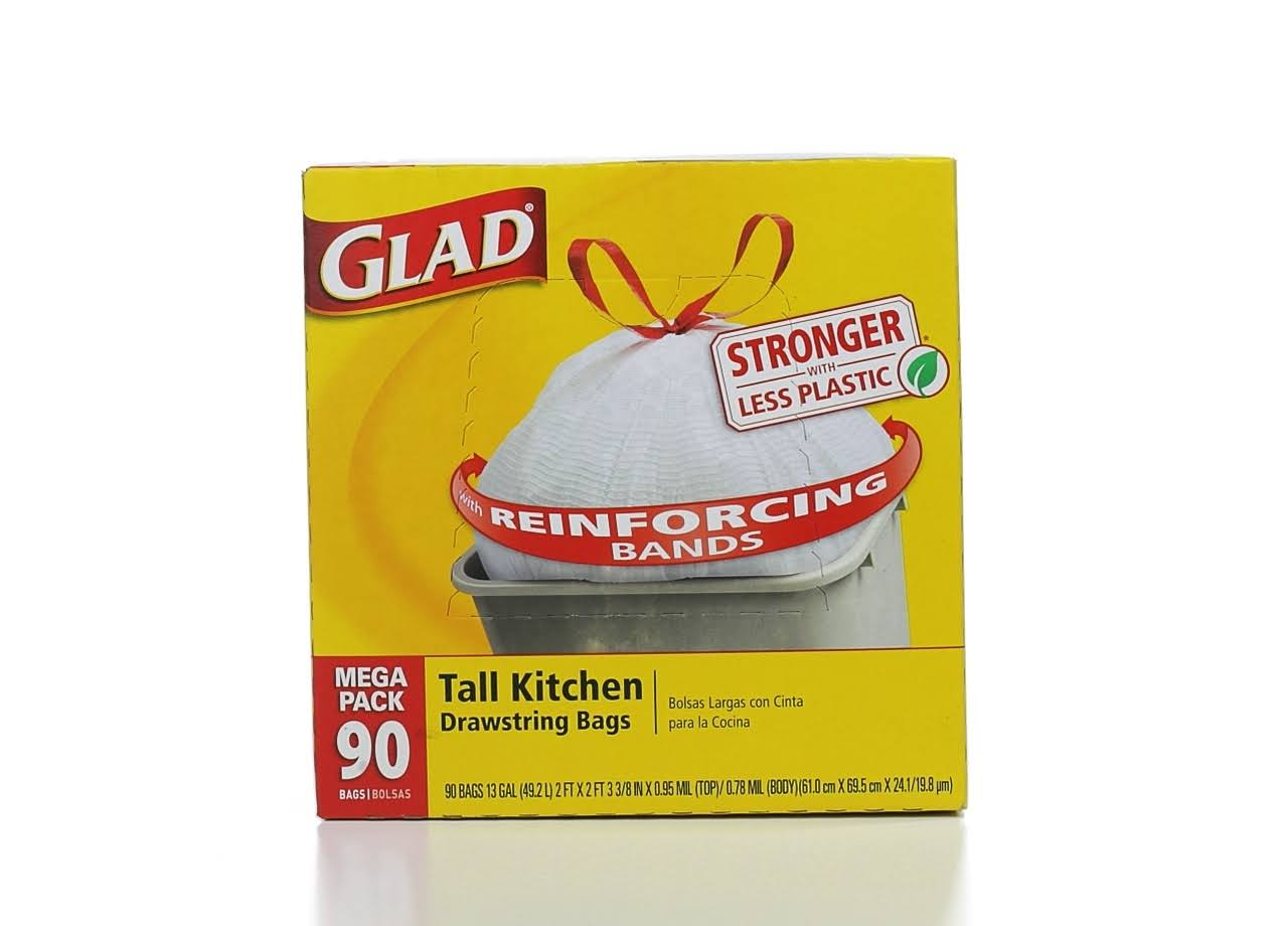 Glad Tall Kitchen Drawstring Trash Bags - 13 Gallon, 90 Count