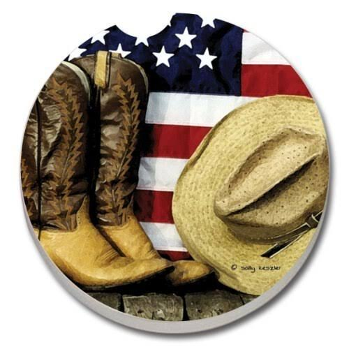 Counterart Absorbent Stoneware Car Coaster Boots and Hat with Flag