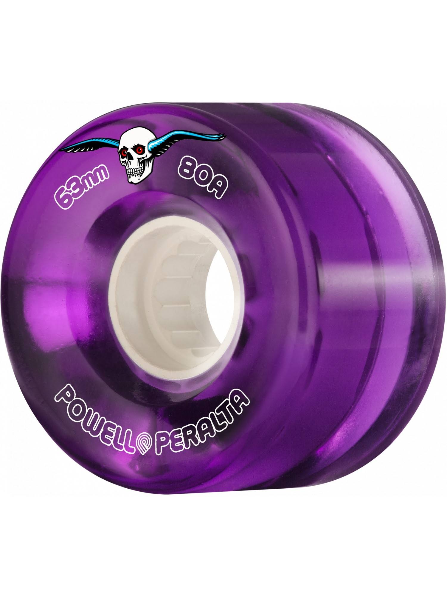 Powell Peralta Clear Cruisers Skateboard Wheels - Purple (80A) 63mm