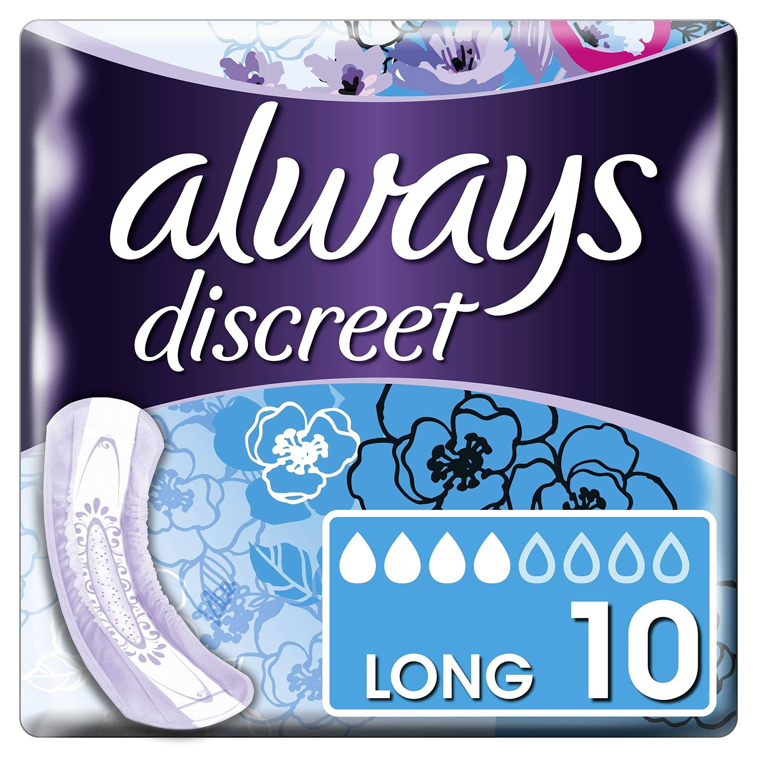 Always Discreet Incontinence Pads - Long, for Sensitive Bladder, 10pk