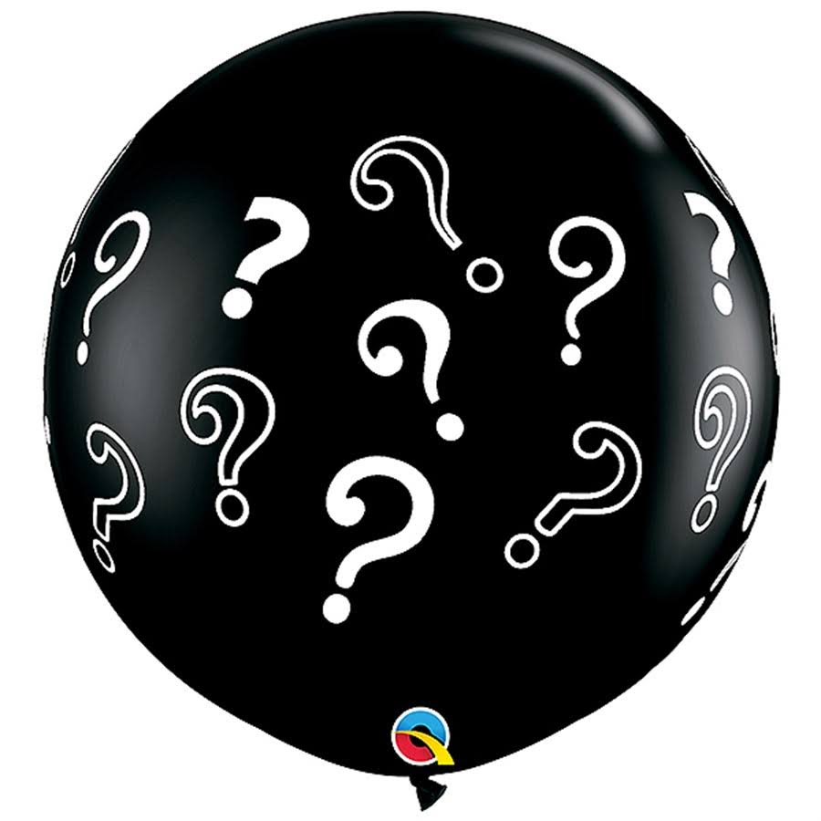 Qualatex Gender Reveal Question Marks Latex Balloons - Onyx Black, 3'