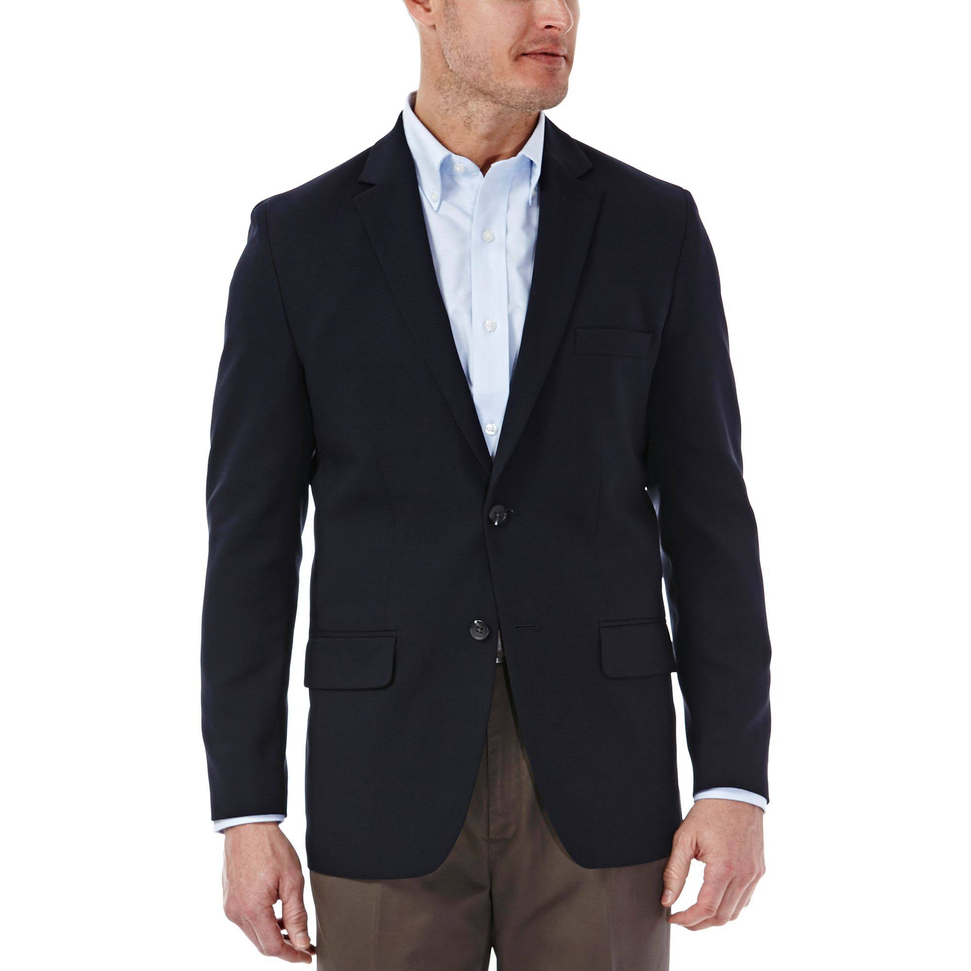 Haggar Clothing Men's Tailored Fit In Motion Blazer - Black