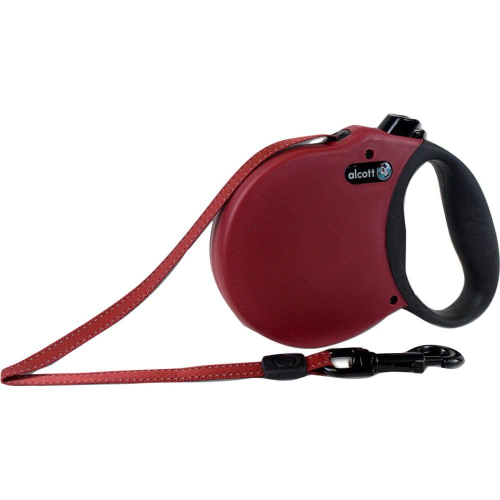 alcott Adventure Retractable Dogs Leash - Small, Red, Up to 45lb