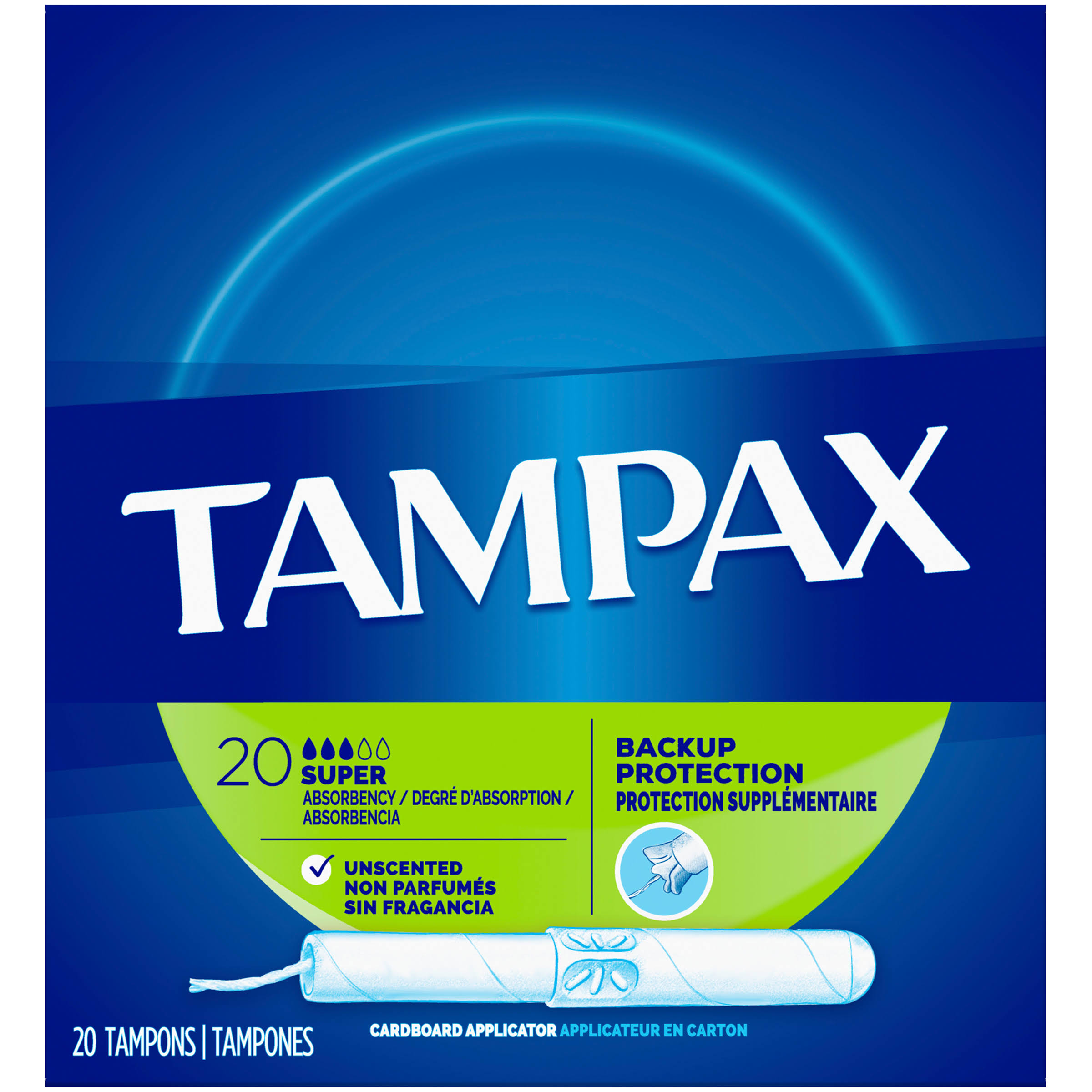Tampax Anti-Slip Grip Tampons - Cardboard Applicator, Super Absorbency, 20pk