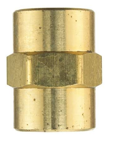 JMF FPT to FPT Yellow Brass Coupling - 1/4in x 1/4in