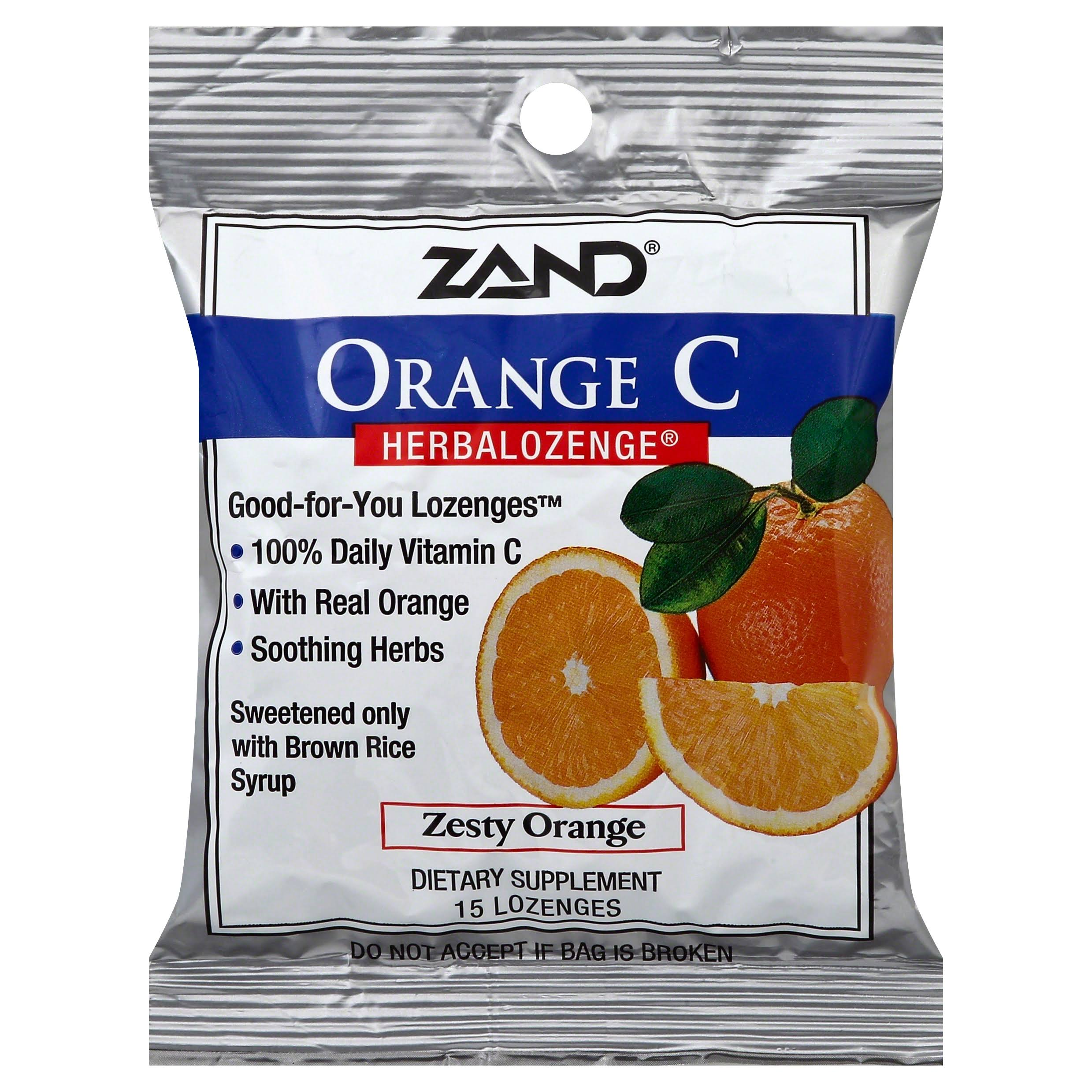 Zand HerbaLozenge Orange C, Natural Orange - 15 count