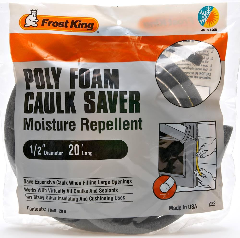 Frost King Poly Foam Caulk Saver - 1/2 in x 20 ft