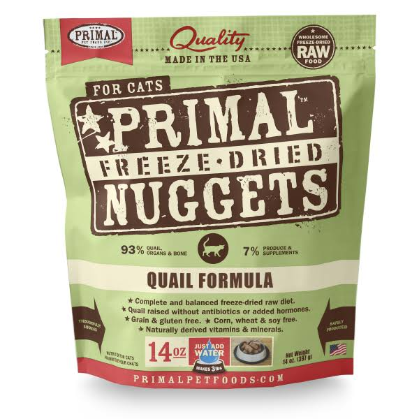 Primal Feline Freeze Dried Quail Formula Cat Food, 14 Ounces