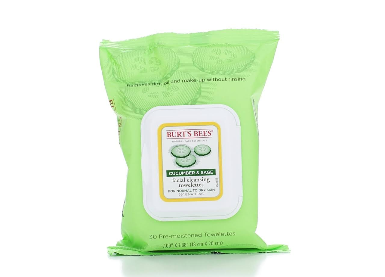 Burt's Bees Facial Cleansing Towelettes - Cucumber & Sage, 30 ct