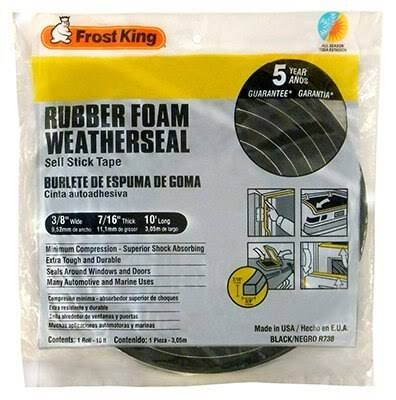 "Frost King Rubber Foam Wheater Seal Tape - 3/8"" x 7/16"" x 10'"