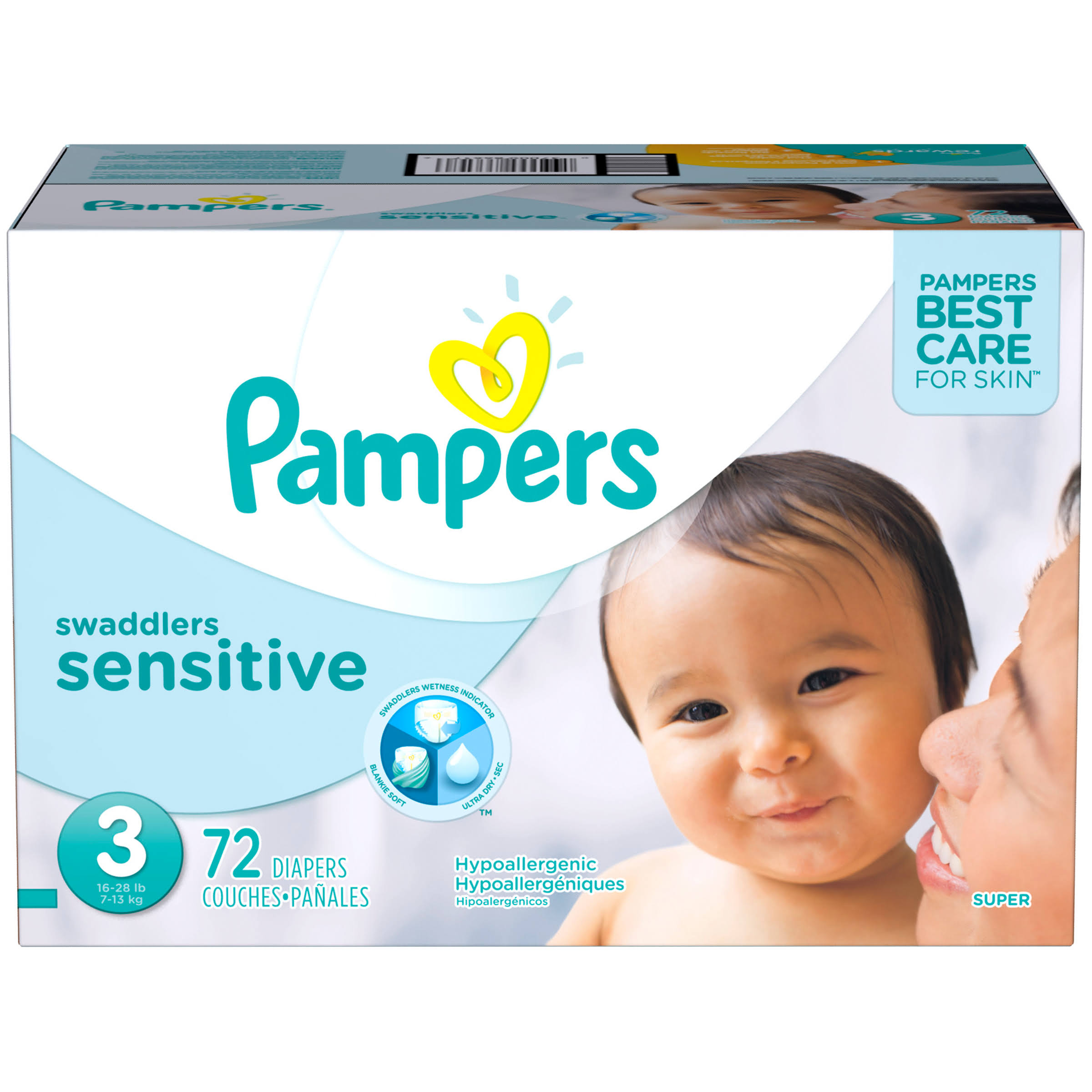 Pampers Swaddlers Sensitive Super Diapers - 3 16-28 lbs, 72pk