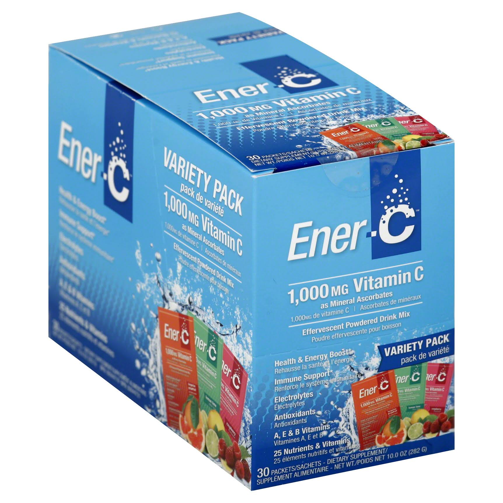 EnerC Vitamin C Supplement Variety Pack - Lemon, Orange & Raspberry