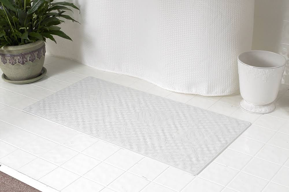 "Carnation Home Fashions Rubber Shower Mat - White, 18"" X 36"""