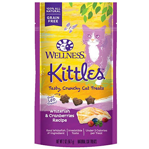 Wellness Kittles Crunchy Natural Grain Free Cat Treats - 2oz, Whitefish and Cranberries