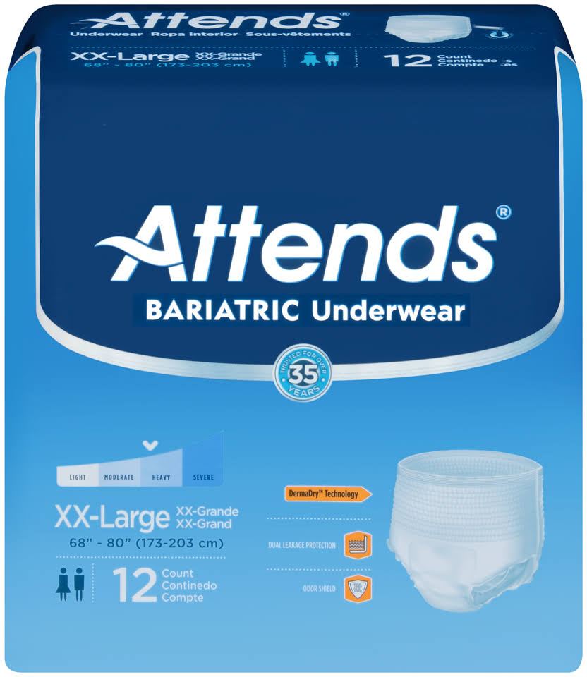 Attends Bariatic Underwear - XX-Large, x12