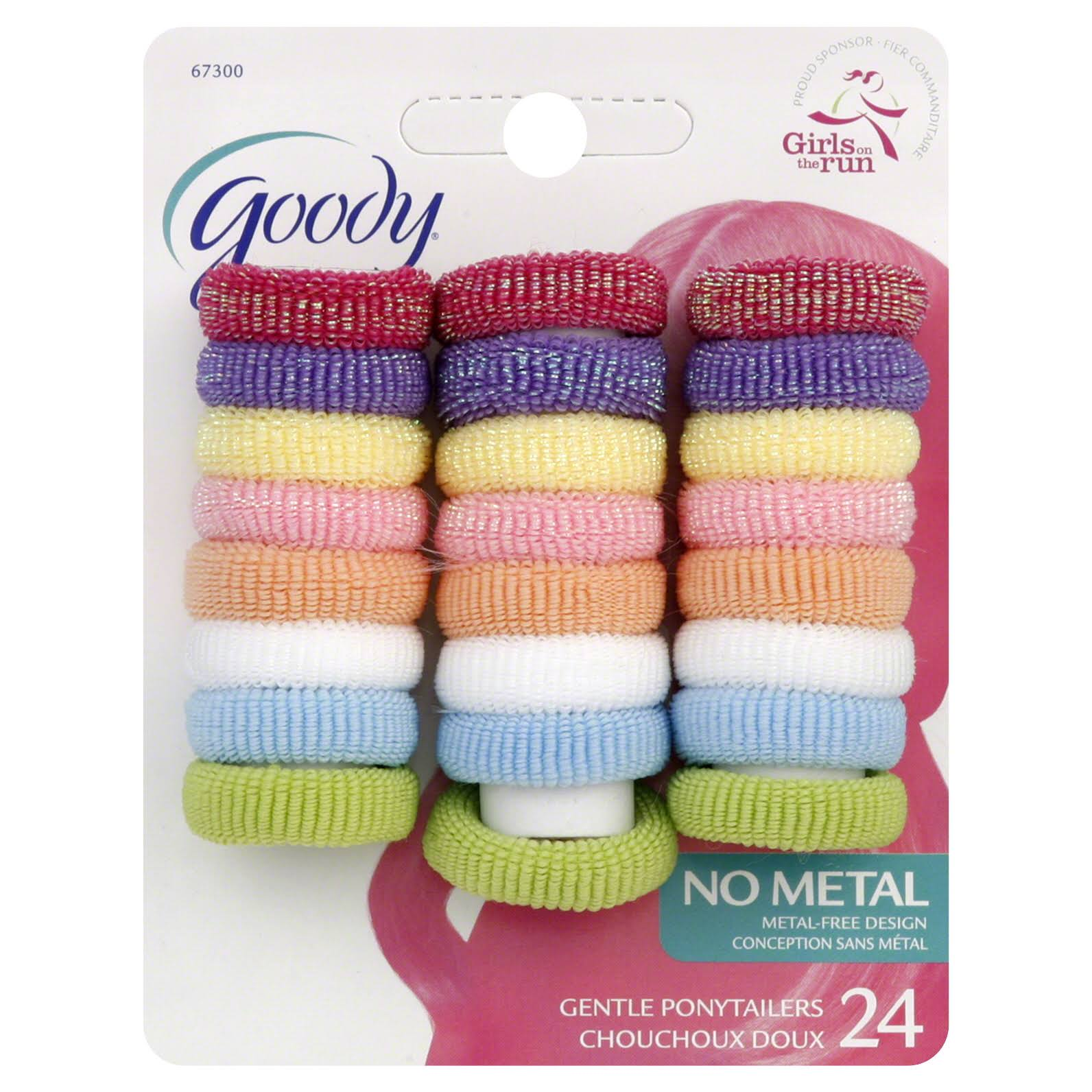 Goody Ouchless Fabric Ponytail Elastics - Assorted Colors, 24pcs