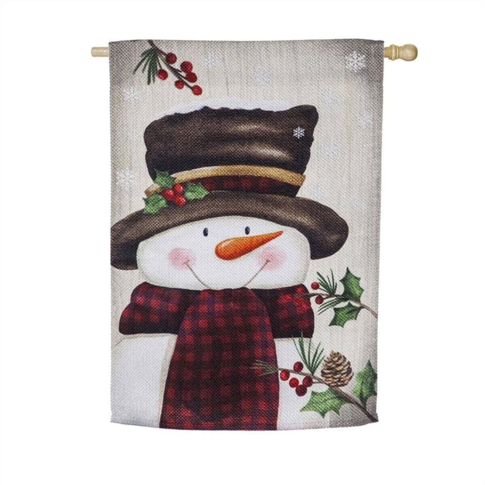 Evergreen Smiling Snowman House Textured Suede Flag