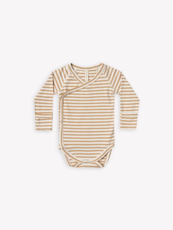 Quincy Mae Kimono Onesie Honey Stripe Onesie Waterlemon Kids 0-3M