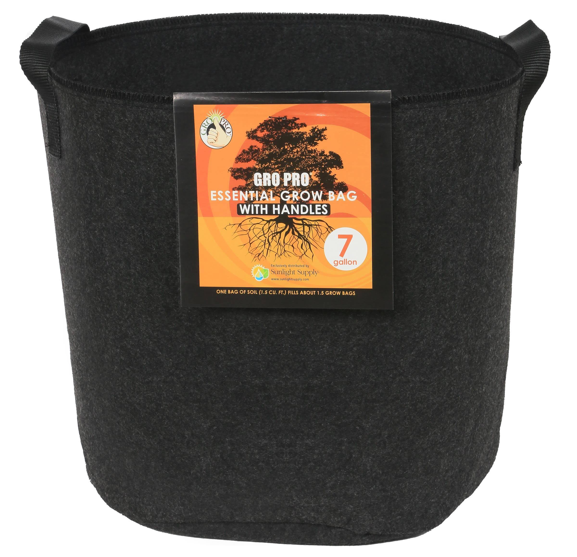 Gro Pro Essential Round Fabric Pot - with Handles, 7gal, Black