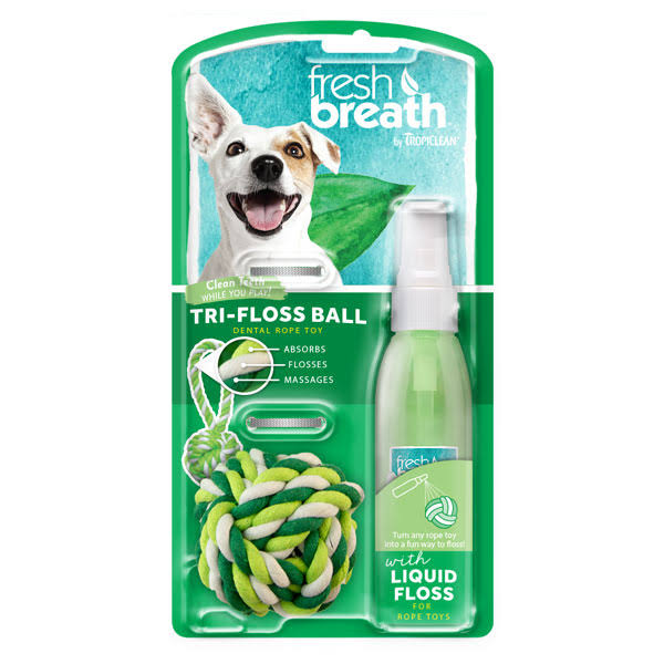 Tropiclean Fresh Breath Pet Plaque Remover - Liquidfloss and Trifloss Ball, Small