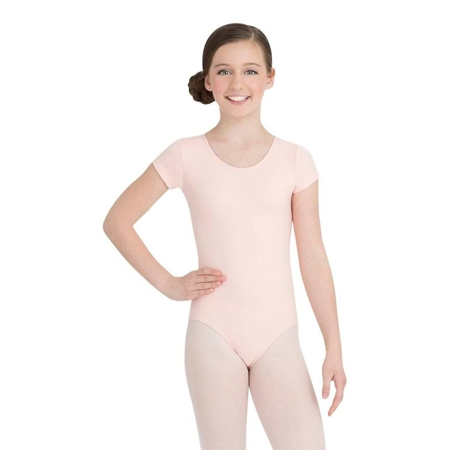Capezio Short Sleeve Leotard - Girls, Girl's, Size: Small, Pink