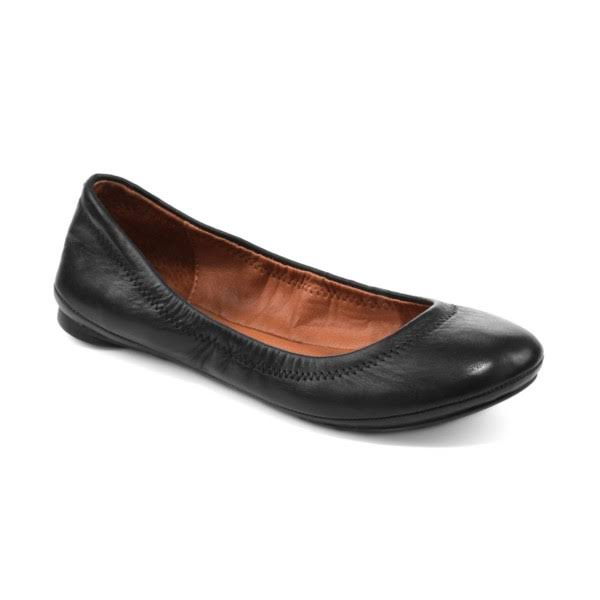 Lucky Women's Emmie Ballet Flat - Black Leather, 6.5 US