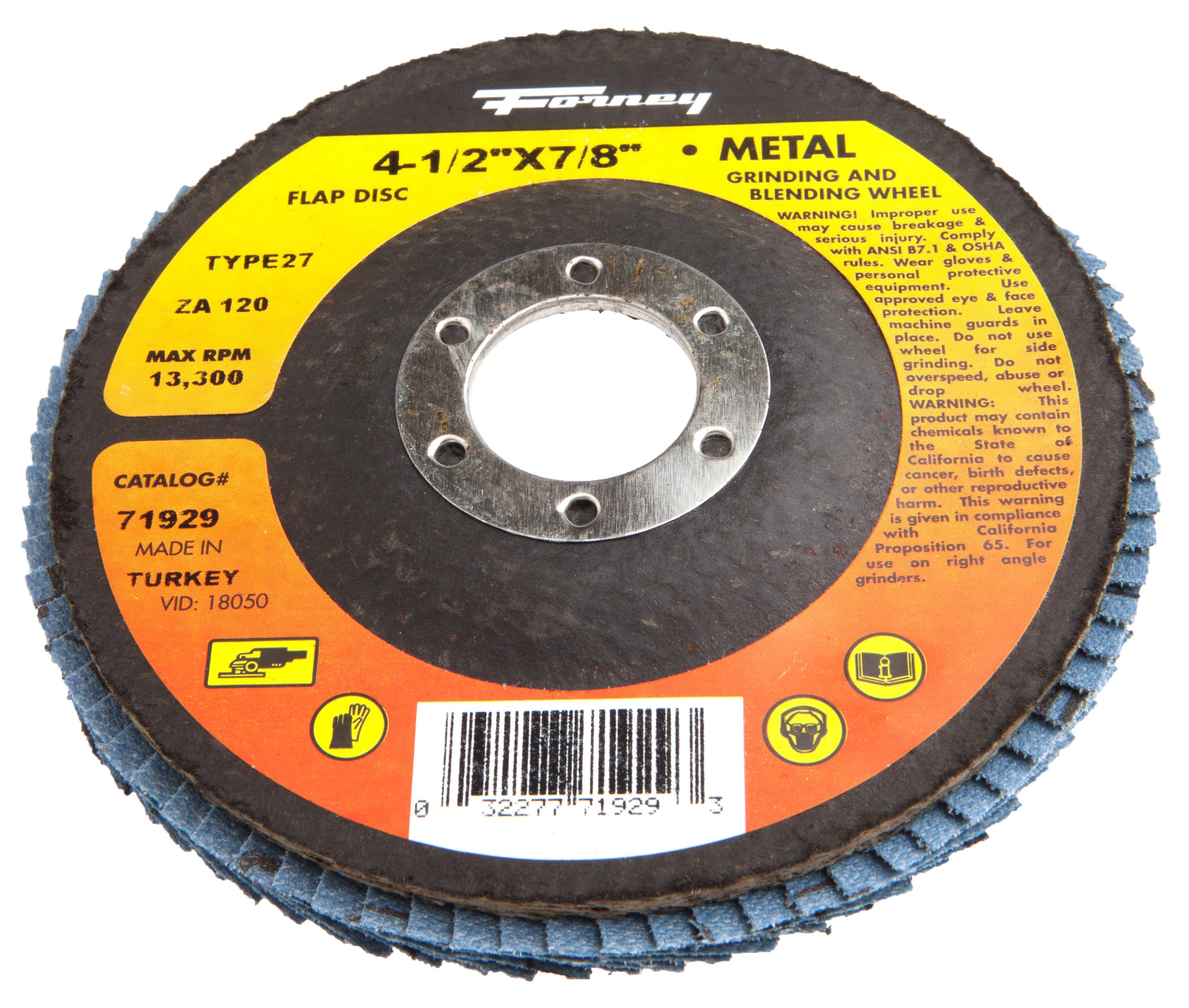 Forney Industries Type 27 Blue Zirconia Flap Disc - 4-1/2in x 7/8in, 120-Grit