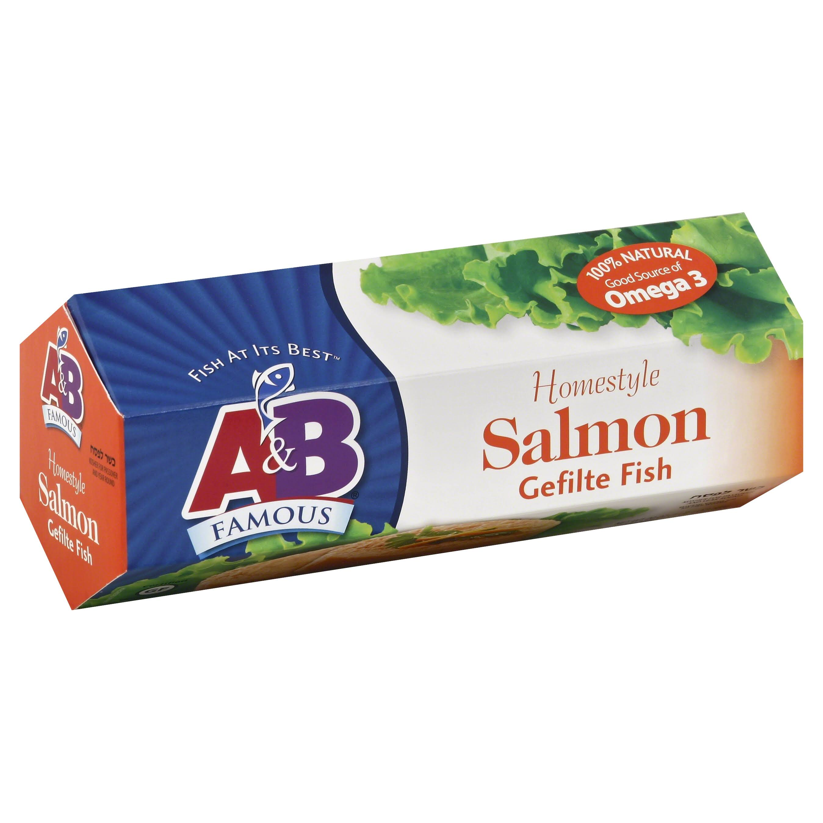 A & B Famous Gefilte Fish, Homestyle Salmon - 20 oz