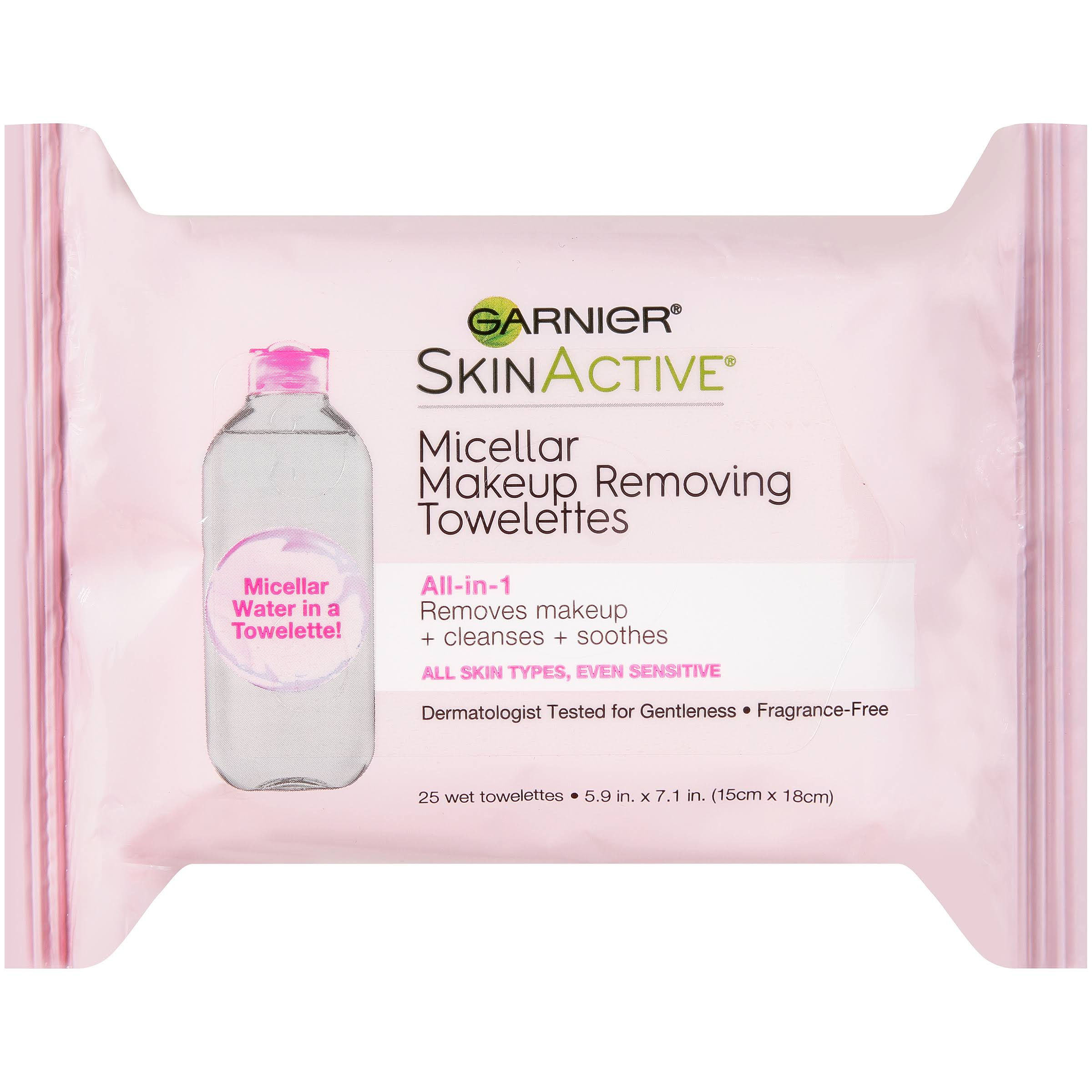 Garnier Skin Active Micellar Makeup Removing Wet Towelettes - 25 Wet Towelettes
