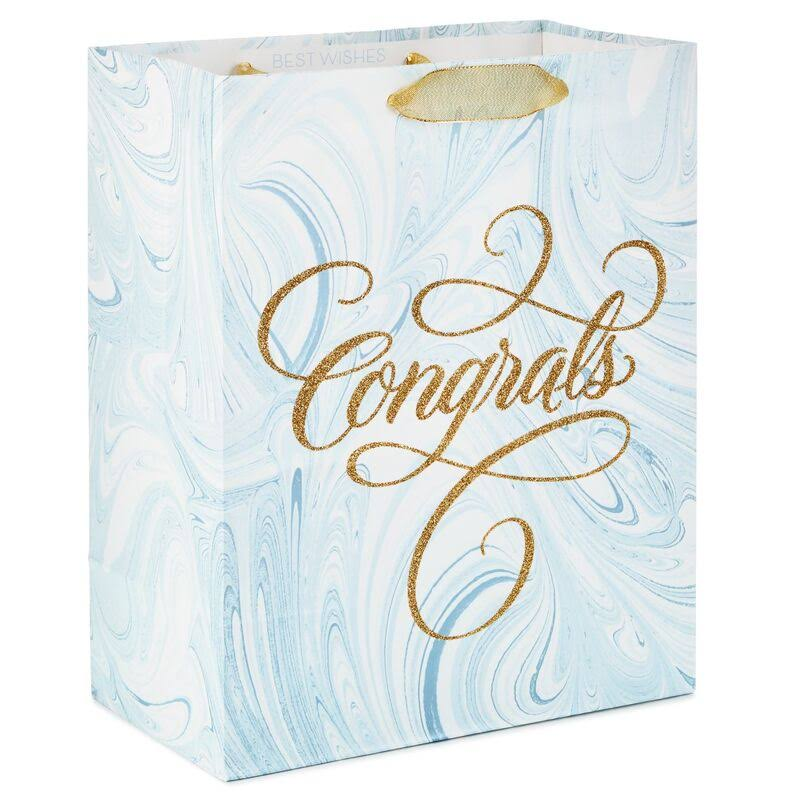 "13"" Congrats Blue Marbled Gift Bag"