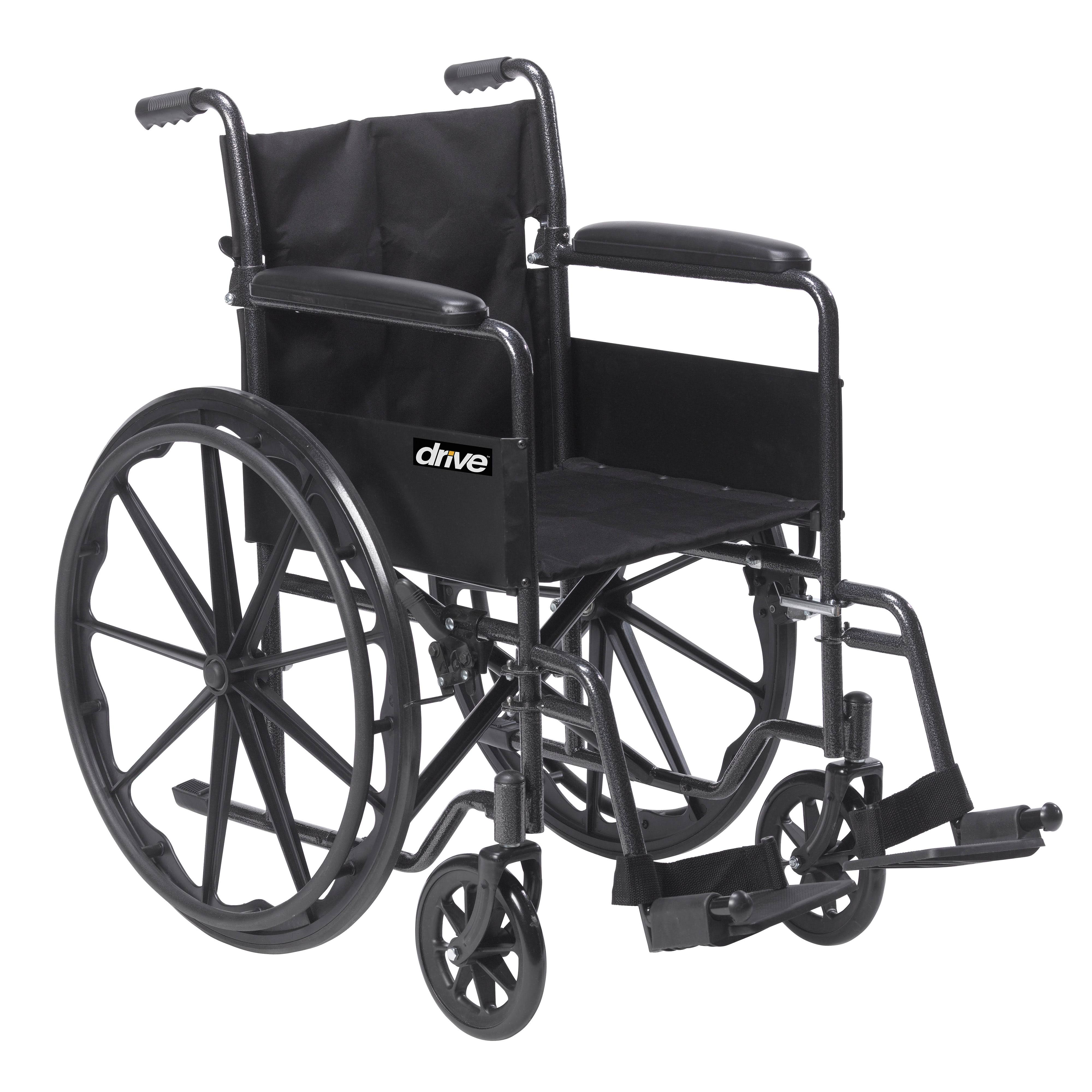 Drive Medical Silver Sport 1 Wheelchair - with Full Arms and Swing away Removable Footrest, Black