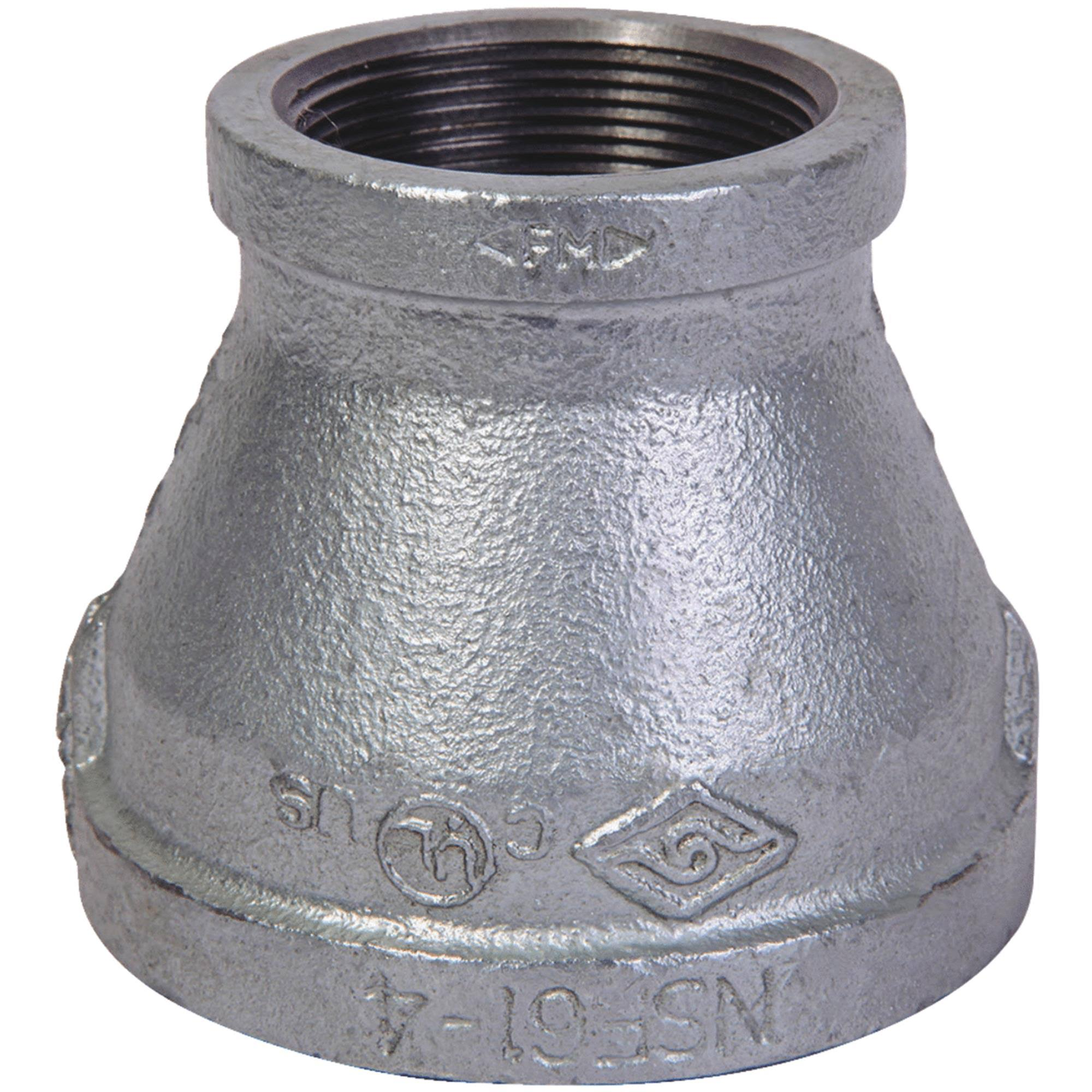 "Mueller FPT x FPT Reducing Coupling - Galvanized Malleable Iron, 1.25""x1"""