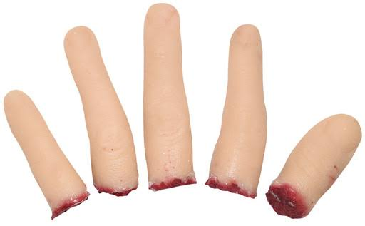 Realistic Severed Fingers 5 PC Set Silicone Cutoff Appendages Halloween Prop