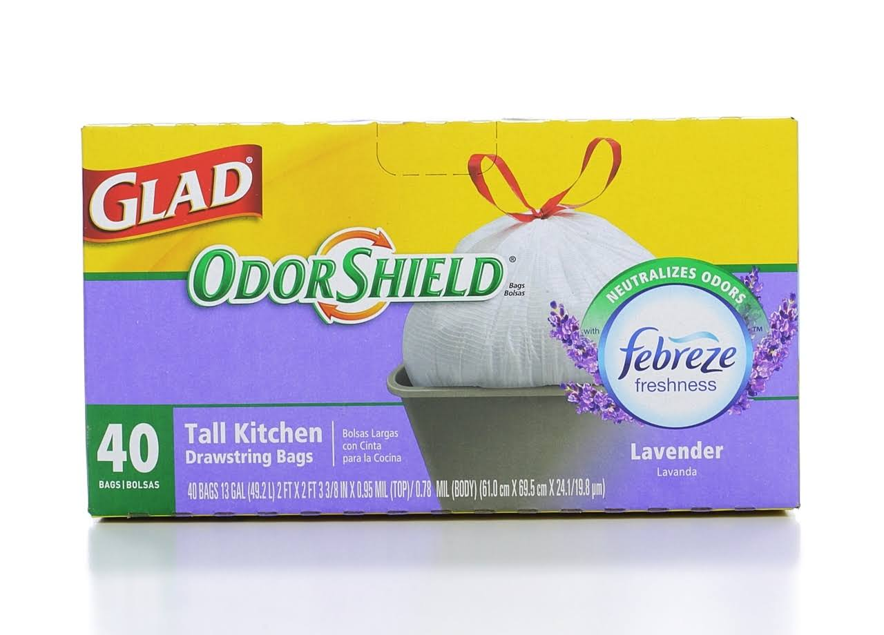 Glad OdorShield Neutralizes Odors with Febreze Freshness Lavender Breeze Tall Kitchen Bags - 40 Pack