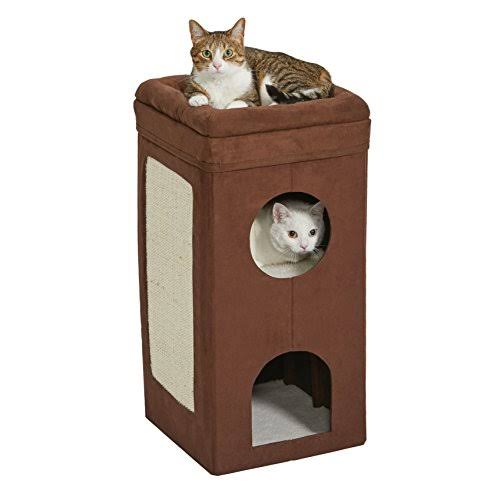 Midwest Metal Products Curious Cat Cube House Cat Condo - Brown Suede, 3 Level