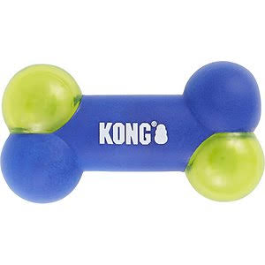 Kong Squeezz Action Bone Dog Toy Blue Medium