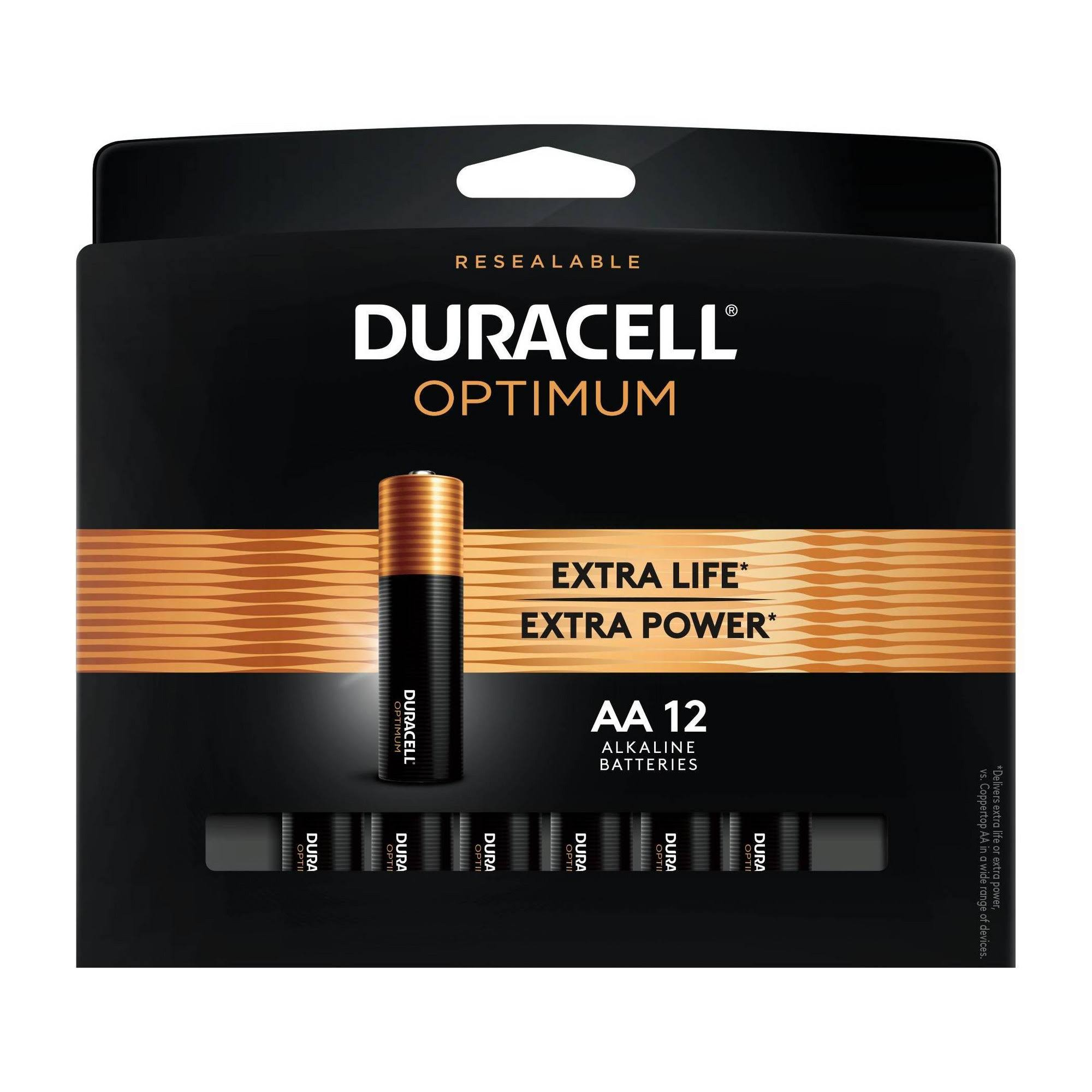 Duracell Optimum AA Alkaline Battery - 12 pack