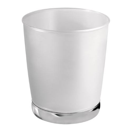 InterDesign York Wastebasket Trash Can - Clear Frosted, Chrome